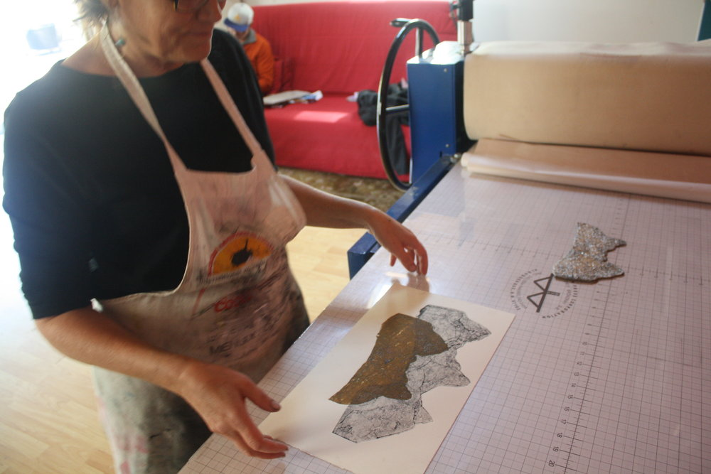 Community Artist Producing Collagraphs in Open Workshop - Fall 2014