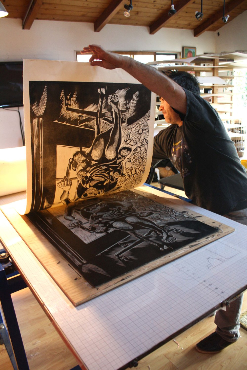 Artist Gregory Radionov Pulls a Print From His Linoleum Block - Spring 2014