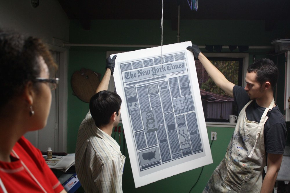 Miles Lewis and Yehuda Blum Hold Up A Screenprint Done For Derek Boshier - Winter 2013