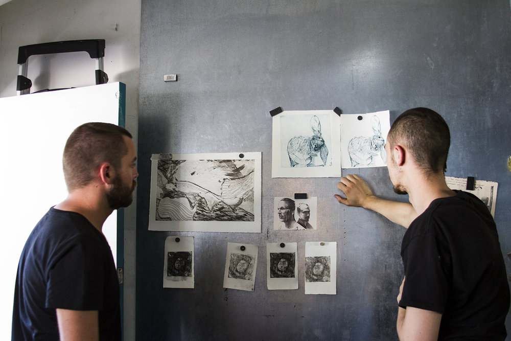 Artist-in-Residence Benjamin Bjorklund Reviews Etching Proofs with Miles Lewis - Summer 2015