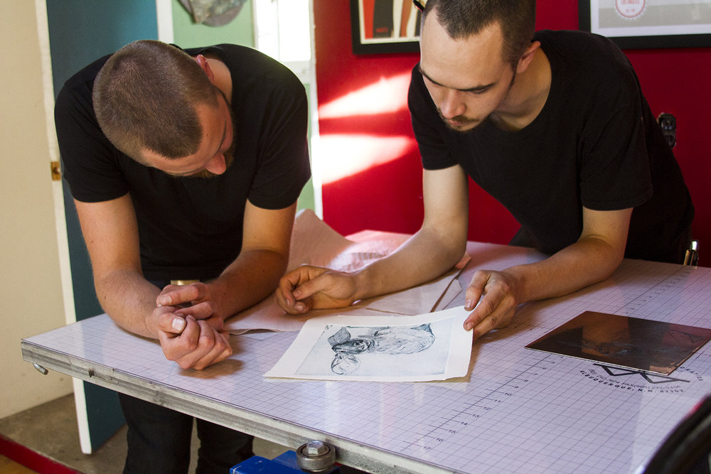 Artist-in-Residence Benjamin Bjorklund Reviews Etching Proof with Miles Lewis