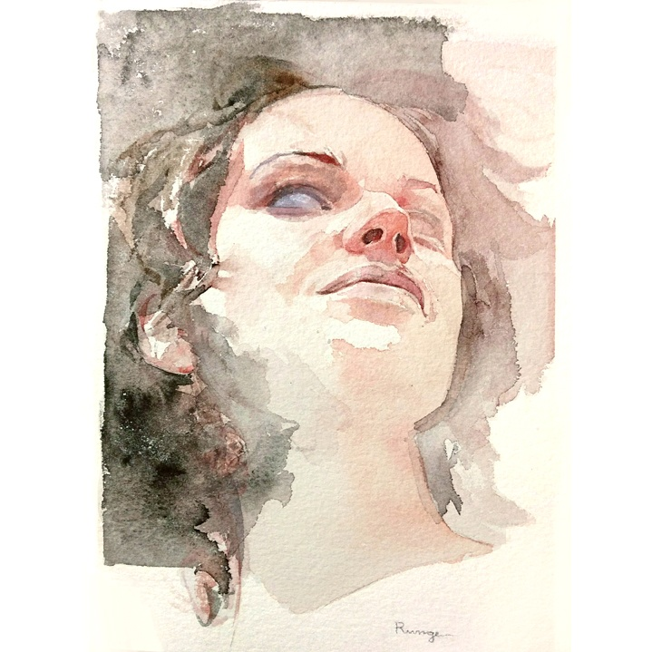 Woman  -  $150  - Watercolor on Paper, 7.5'' x 10'', UNFRAMED.