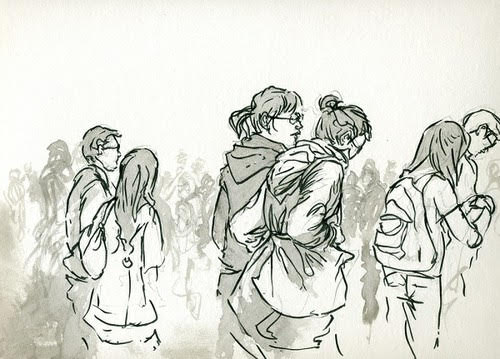 Crowd  -  $250  - Ink and Wash on Watercolor Paper, 8.5'' x 8.5'' UNFRAMED.