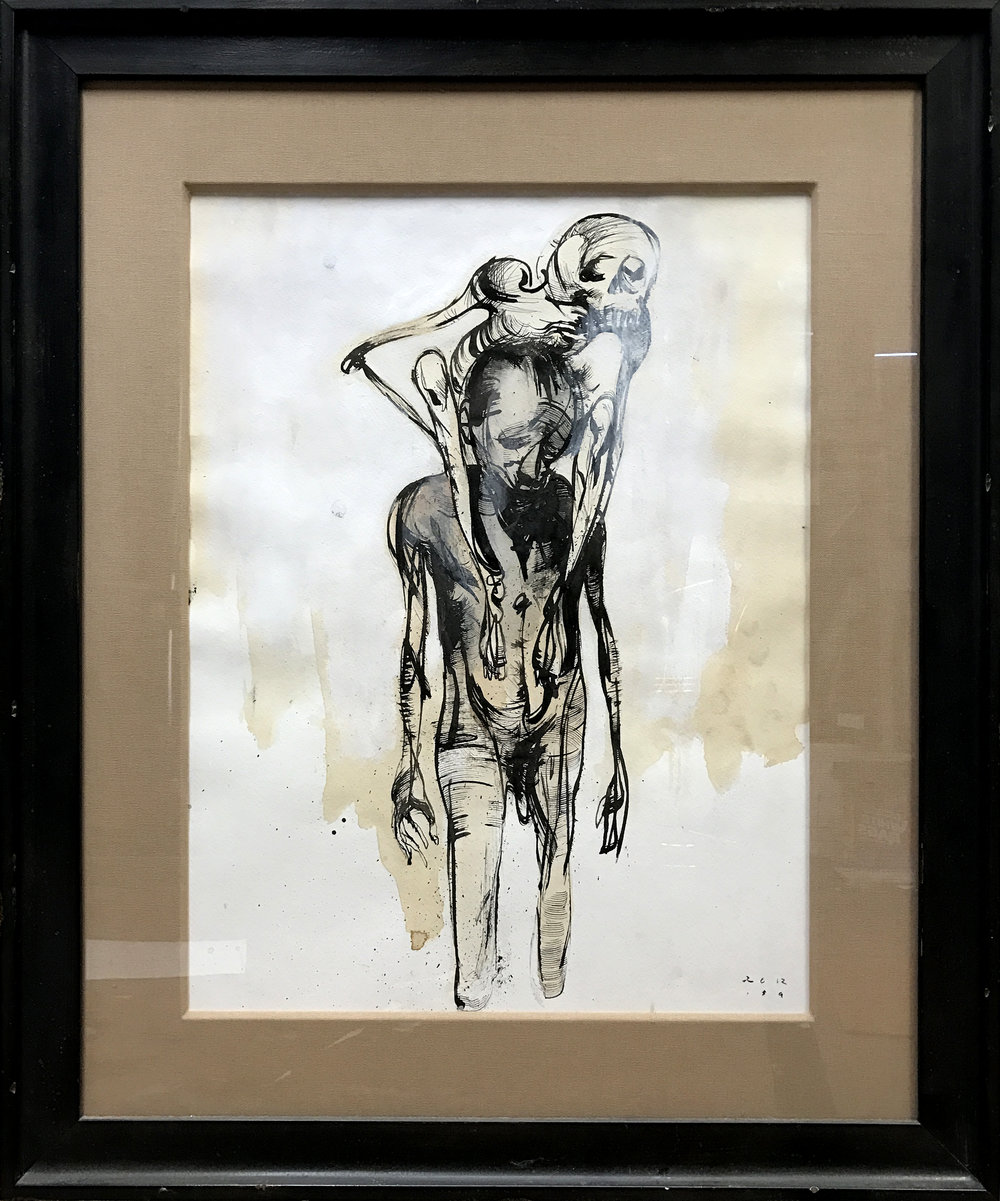 Passenger  -  $400  - Coffee, Acrylic, and Ink on Paper, 18'' x 24'' Framed.