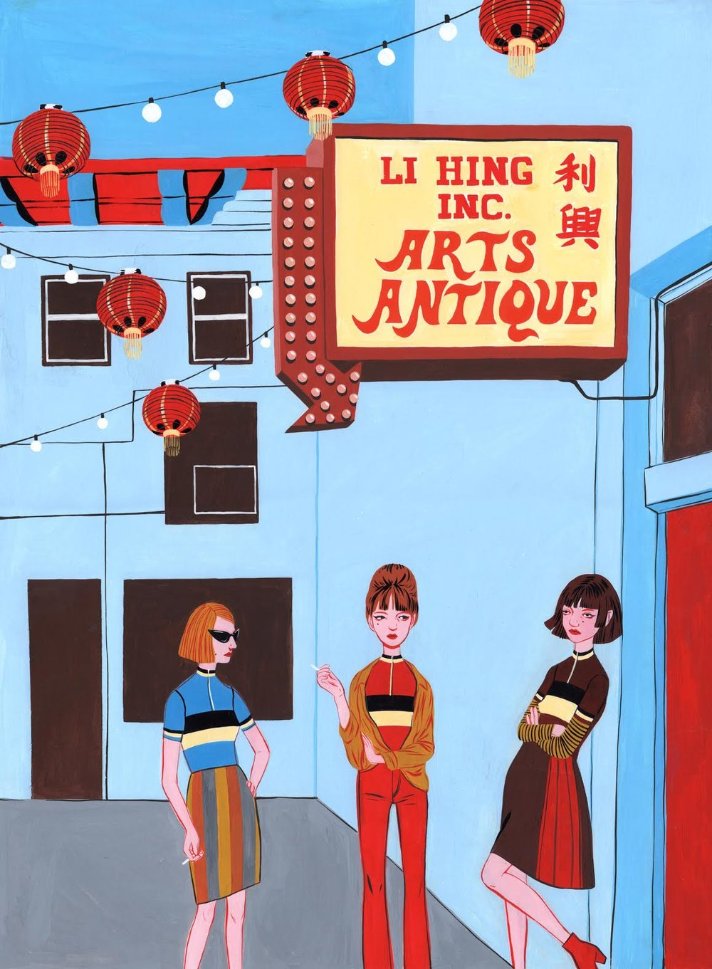 Chinatown - $300, Gouache on Paper, 12'' x 16'' UNFRAMED.