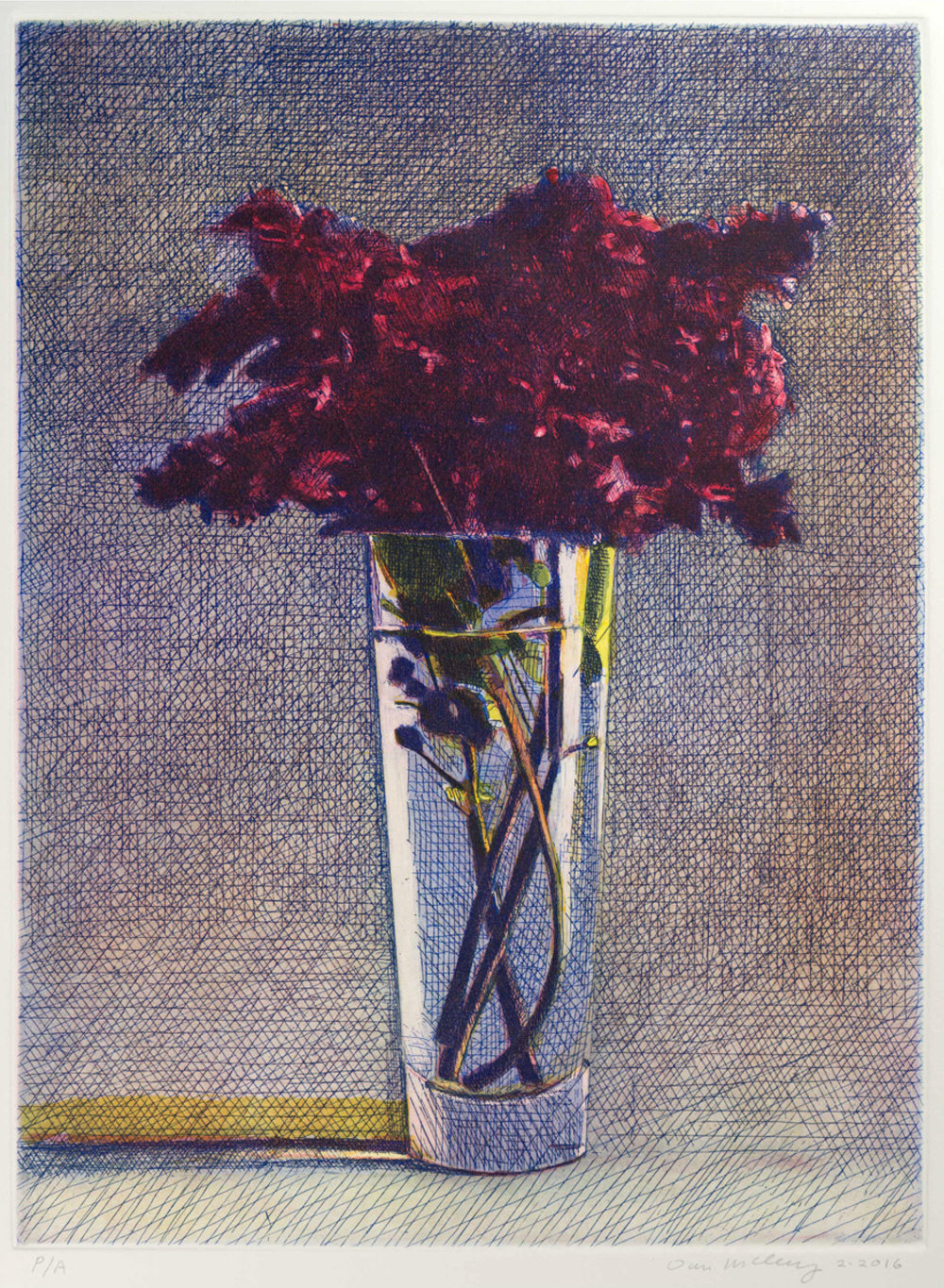 Lilacs - $1000, Color Etching on Paper, 11.5'' x 15.5'' UNFRAMED. Edition of 25. 1 available.