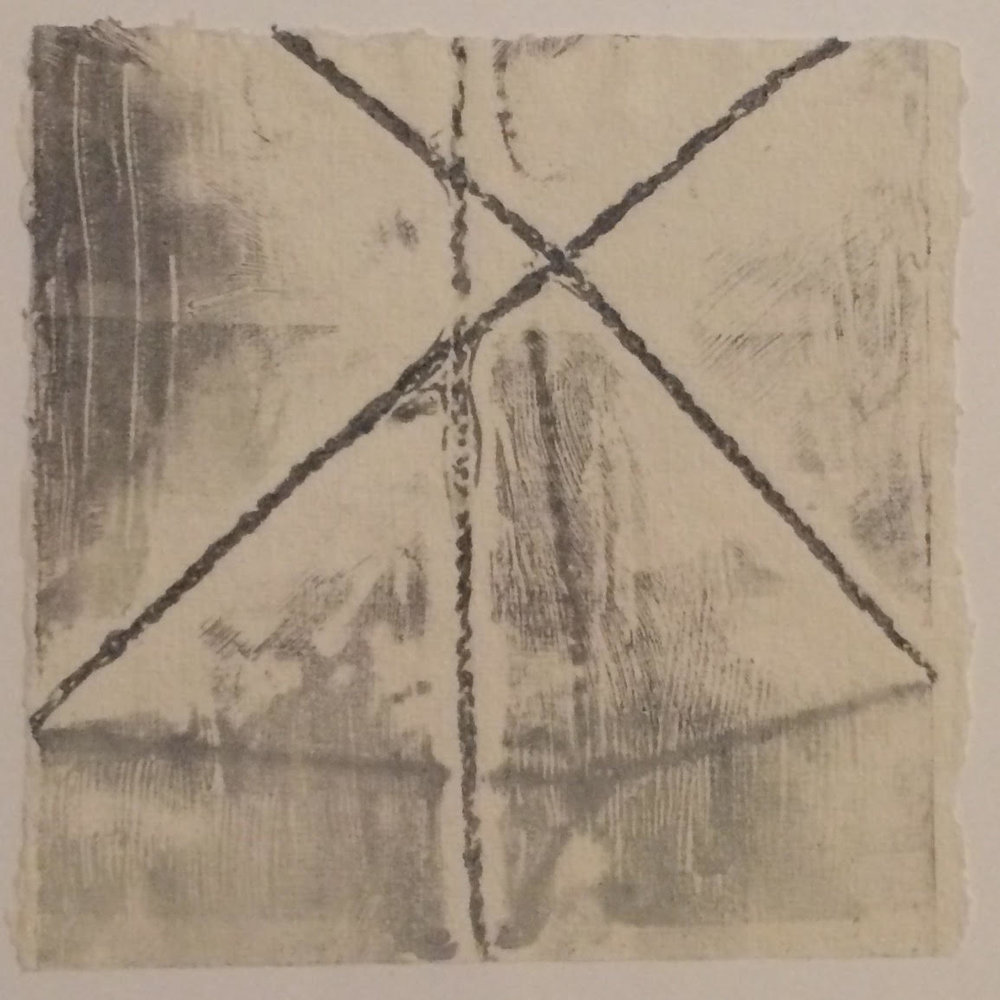 Double Bind (no.2)- $100 - Collagraph Print on Handmade Paper, 6'' x 6'' UNFRAMED.