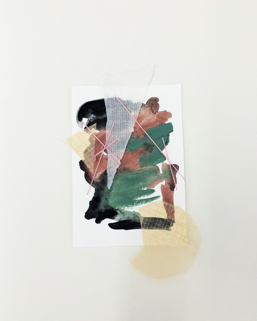 Reunion (no.6) - $300 - Gouache, Emroidery Floss, Found Textiles, and Paper, 6'' x 9'' UNFRAMED.