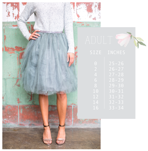 Tutu Moi Adult Sizing Guide