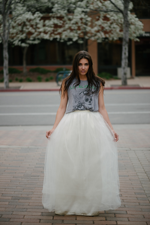 Long Maxi Tulle Skirt Ivory
