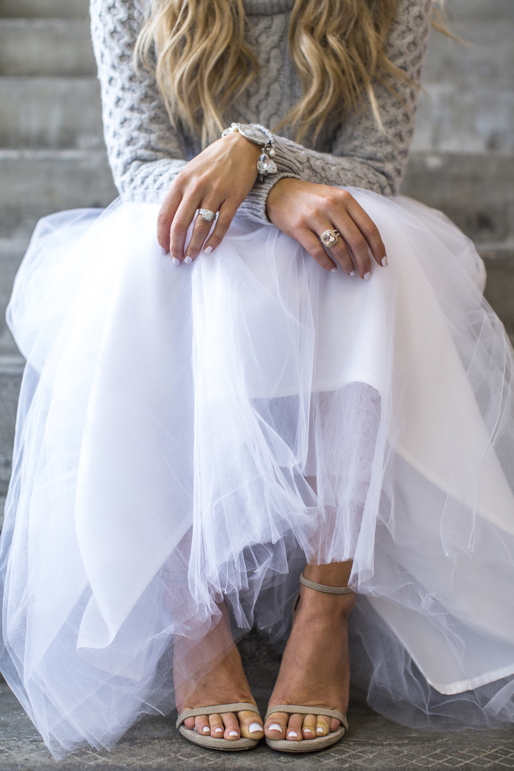 white bridal tulle skirts