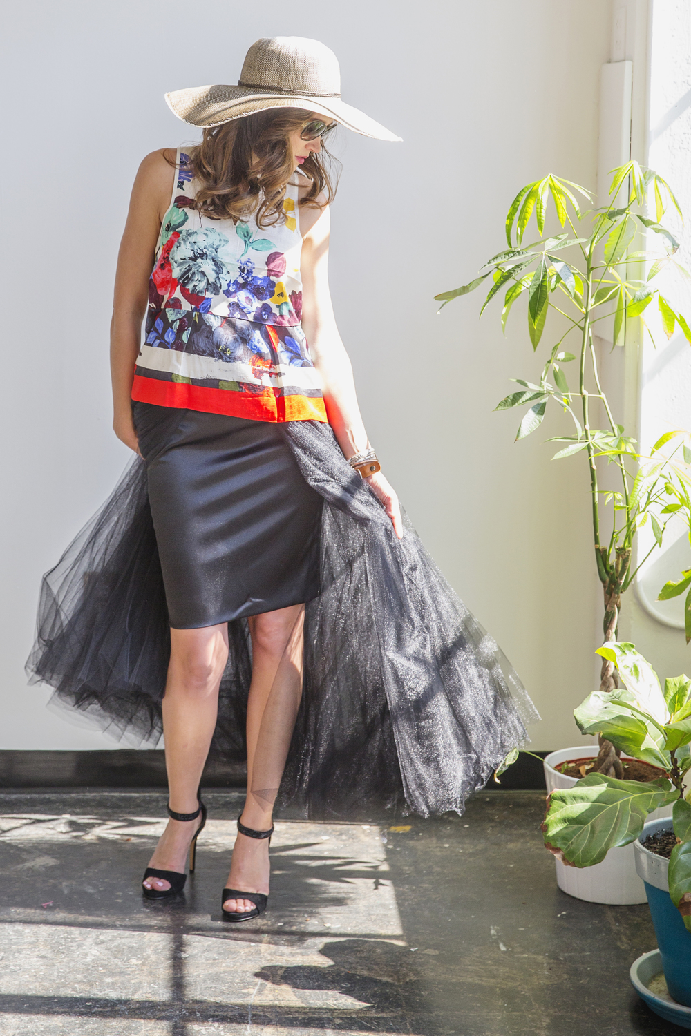 Women's Designer Tulle Skirt in Black