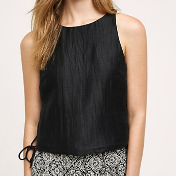 Anthropologie Black Lace-up Top