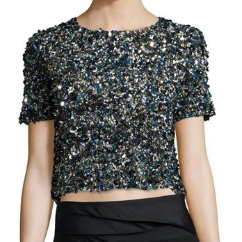 Neiman Marcus Sequin Crop Top