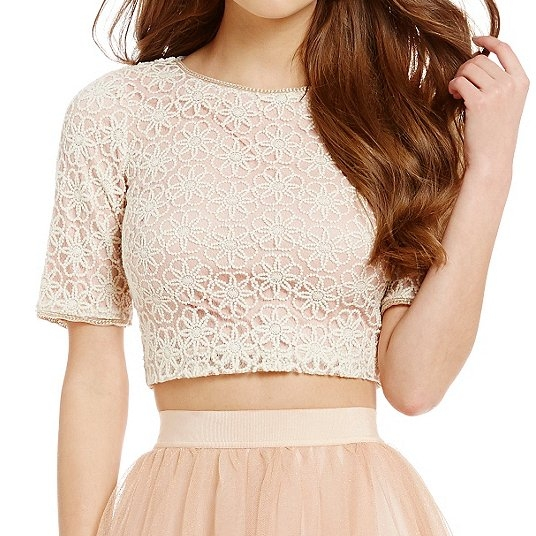 Dillard's Floral Lace Crop Top