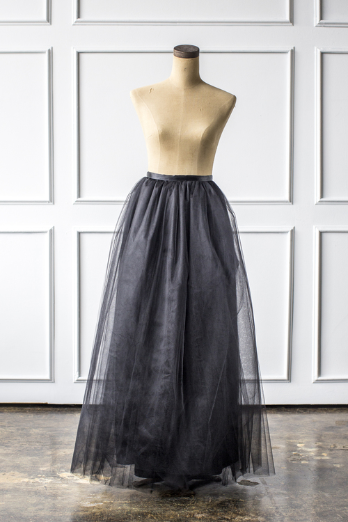 Maxi Tulle Skirt in Black