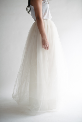 Maxi Tulle Skirt in Ivory