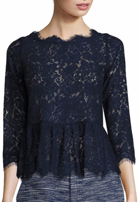 Joie Koda Lace Peplum Top