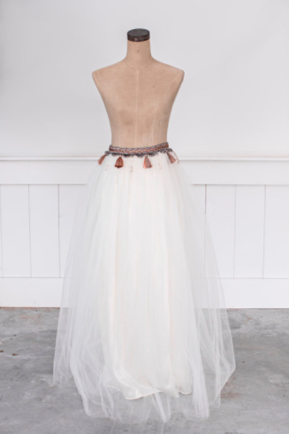 Maxi Tulle Tutu in Ivory Crystal and Tassels