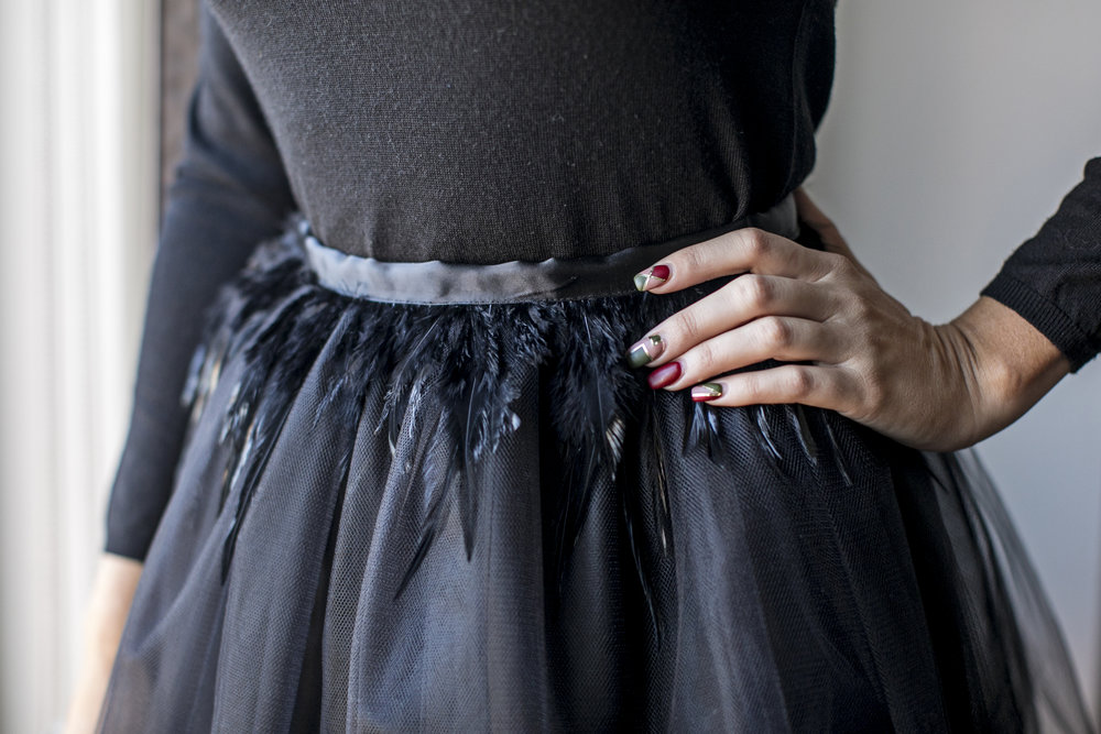 Signature Tulle Skirt in Black Feathers