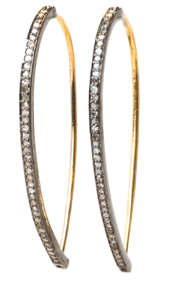 PAVE DIAMOND AND GOLD STICK HOOP EARRINGS