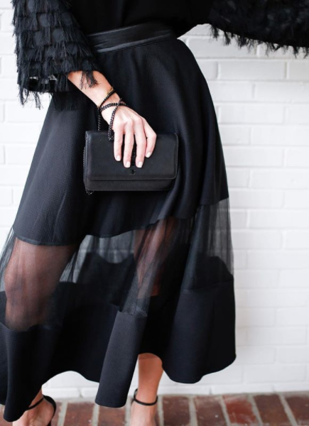Sheer Overlay Tulle Skirt in Black Tutu Moi + Living With Landyn