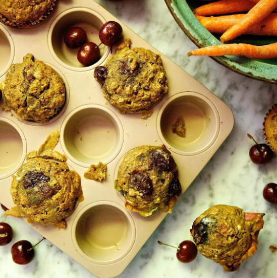 Carrot, Cherry & <Br> Chai Pear Muffins