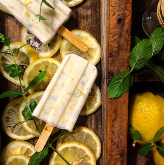Lemon Mint Yogurt Popsicles