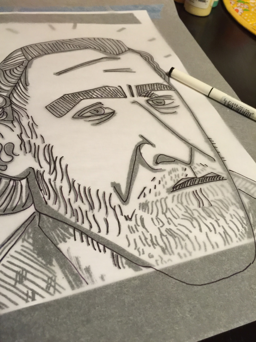 Charles Bukowski in progress illustration