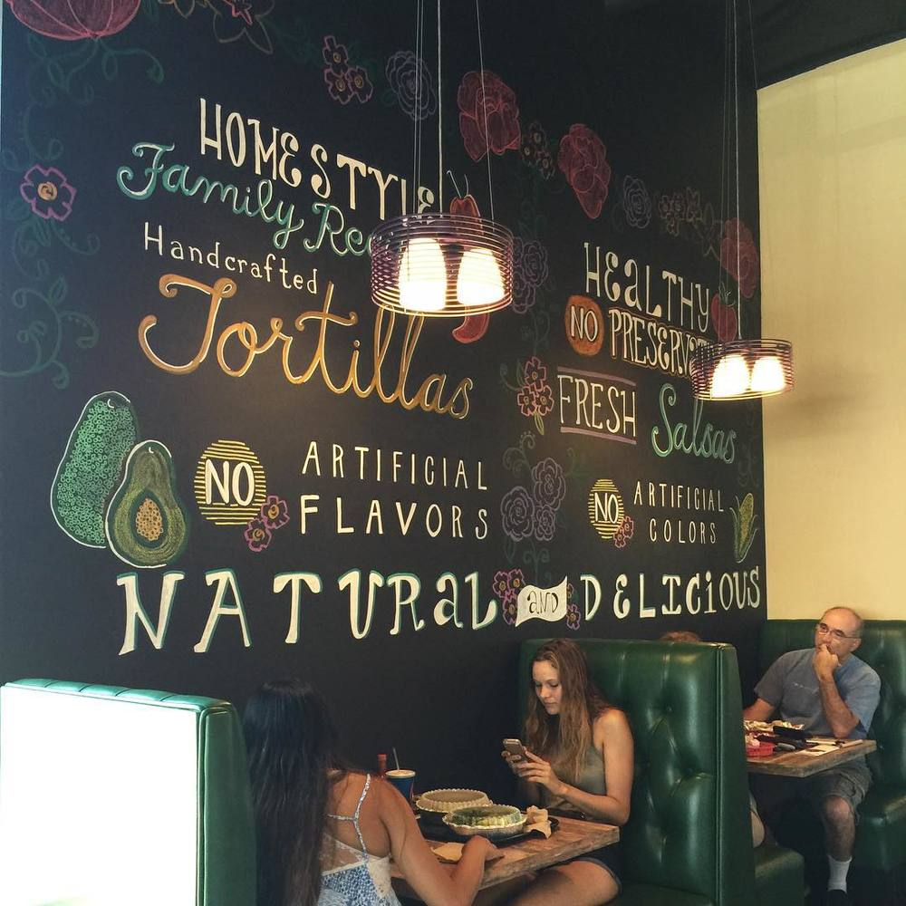 Chalk Art Mural for Cecilia's Tortilla Grill in Laguna Hills.