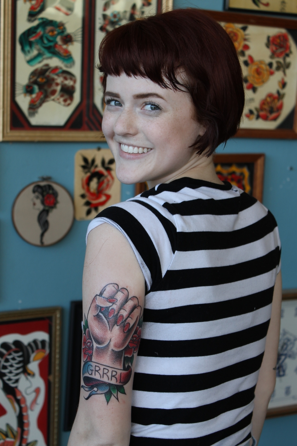 Rachel with her new tattoo from Nate Corder.