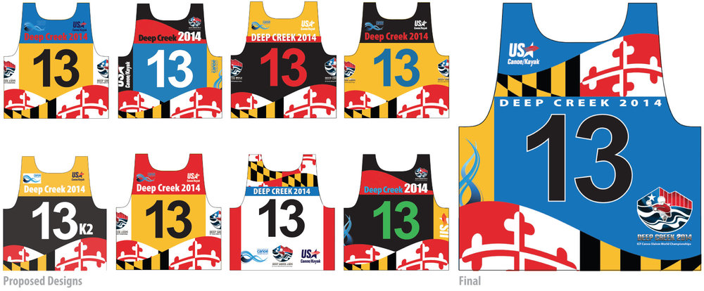 "Designing the numbered bib for the athletes to wear in competition was definitely a first for me. The only concept input was that it be a Maryland theme, other than that I was on my own. The first thing to do was to try to find out what ""not to do"" when designing a bib, so I researched event footage and didn't stray much from the norm. There are times to be a rebel and this wasn't one of them. A very tight deadline and lack of knowledge of fabric printing kept me from having anything near a comfort zone.  The design space was not without restrictions and rules governing text readability along with sponsor and organization logo protocol and hierarchy (it was made clear that under the arm was not prime real estate). There were political considerations that dictated placement and size of logos, along with the degree of contrast in colors. It was obvious once I had the template, this project would require more than the average number of options for the client(s) to ever feel the design was fair and equitable. Everything considered, the approval process was slow but fairly painless and I think a minimum of compromises were made by all. This is about half of the design variations that were shown."