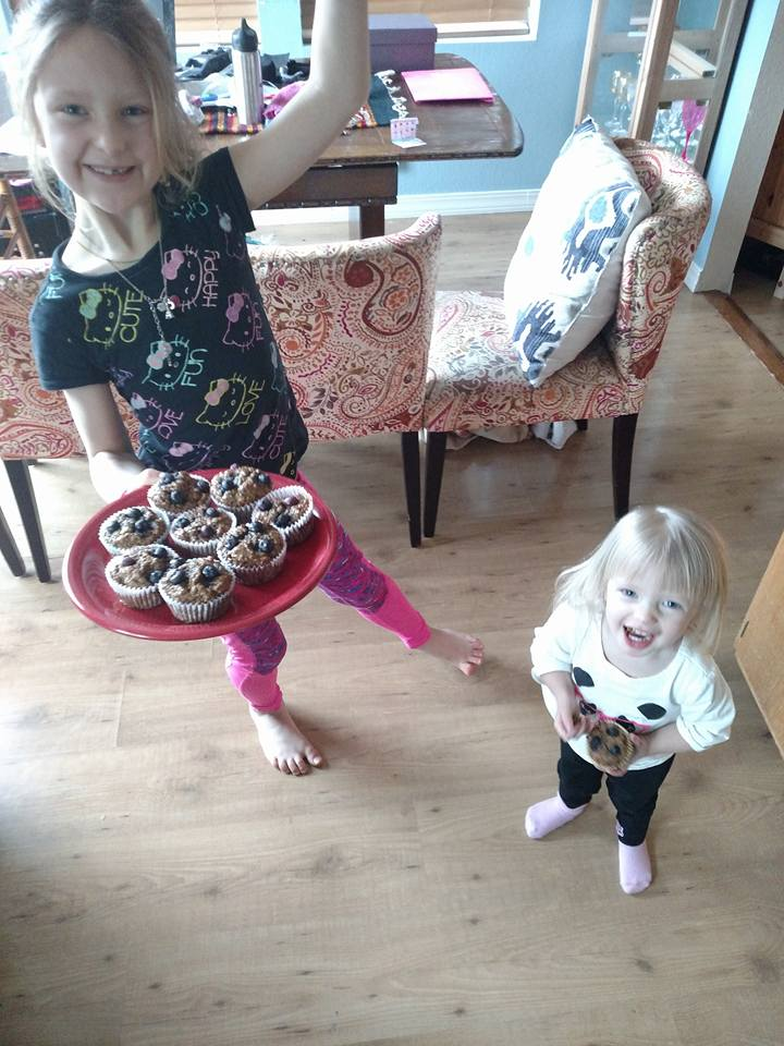 Pailey and Tanna loving the muffins!