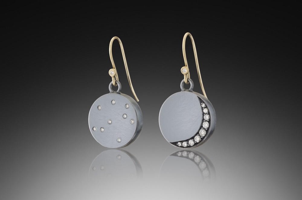 Crescent Moon & Stars Earrings