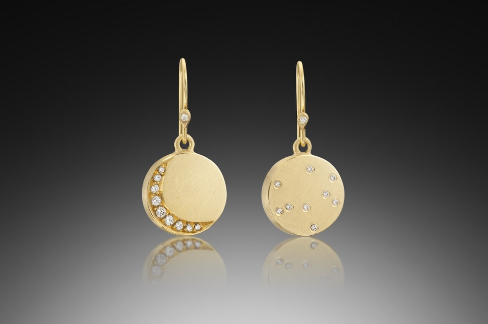 Gold Crescent Moon & Stars Earrings