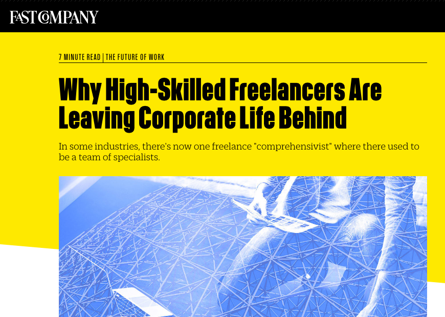 Fast Company article on the talent market in the gig economy.