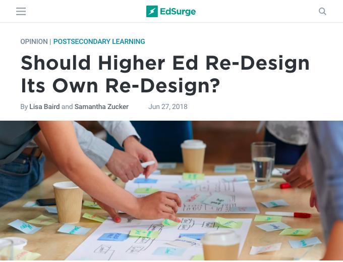 EdSurge article on designing higher education.
