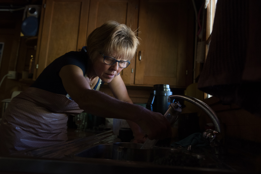 8/13/16 – Adelboden, Bern – Greti, Karin and I see how cheese is made by cheese-makers Ueli and Martha Grossen-Rösti in the Engstligenalp near Adelboden, Switzerland on Saturday, Aug. 13, 2016. (Photo by Nicholas Pfosi)