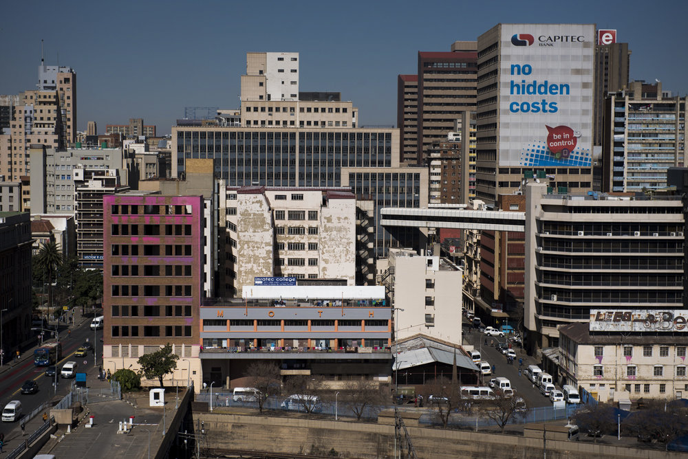 The exterior of the Moth building in Joubert Park on Friday, Aug. 7, 2015 viewed from an adjacent railway management building. The residents here were evicted from their previous building in New Town to make way for a new mall under construction. (Photo by Nicholas Pfosi for The Mail & Guardian)
