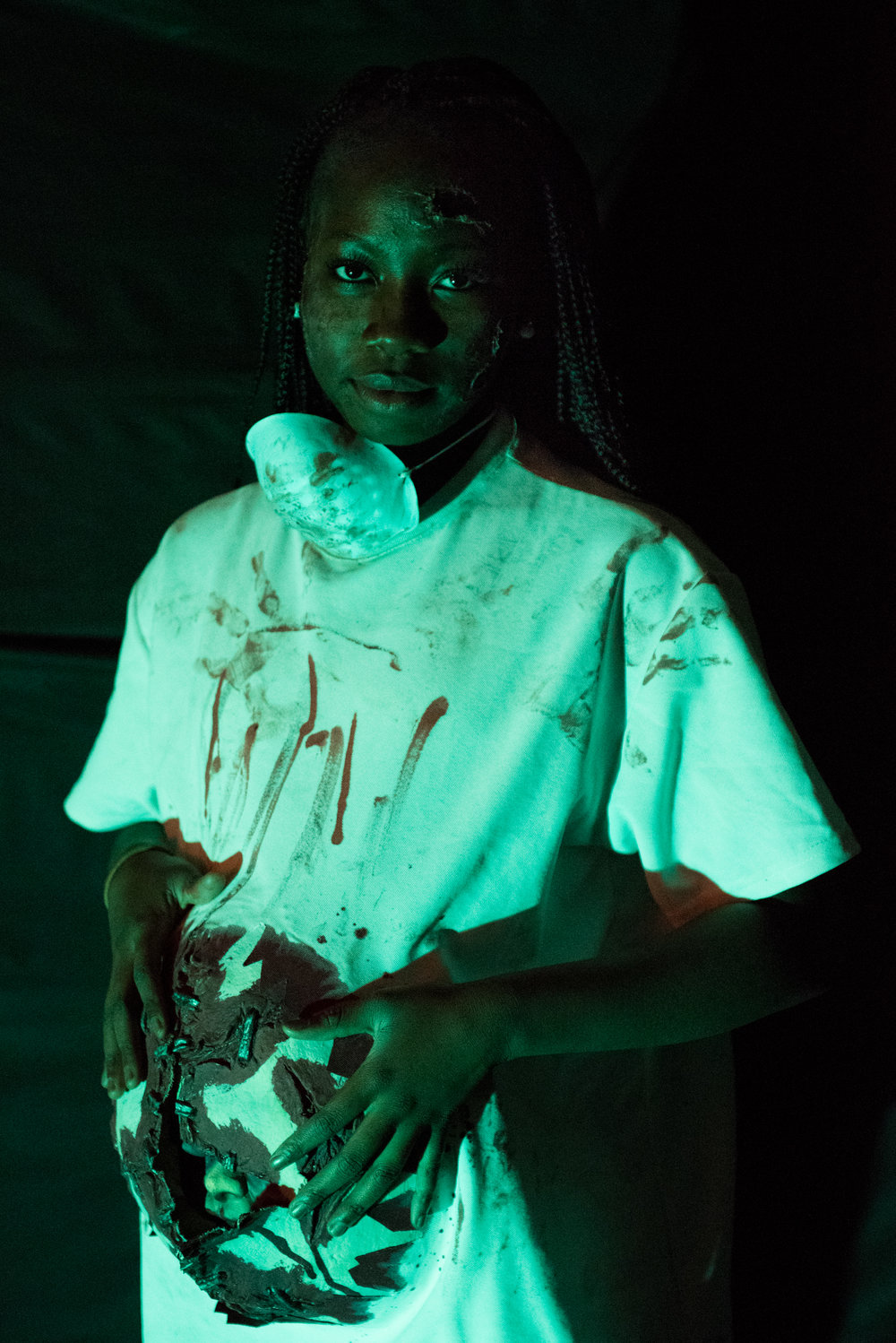 10/26/16 – Belmont, MA – Sophomore Aisha Bance poses for a picture in her costume during the third annual Belmont High School Haunted House which raises money for the Saint Rock Haiti Foundation at Belmont High School on Wednesday, Oct. 26, 2016. (Photo by Nicholas Pfosi)