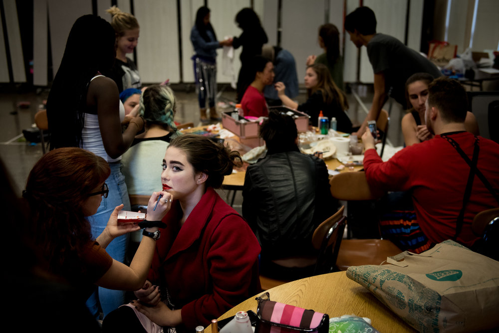 10/26/16 – Belmont, MA – Junior Abby D'angelo has makeup applied before the third annual Belmont High School Haunted House which raises money for the Saint Rock Haiti Foundation at Belmont High School on Wednesday, Oct. 26, 2016. (Photo by Nicholas Pfosi)