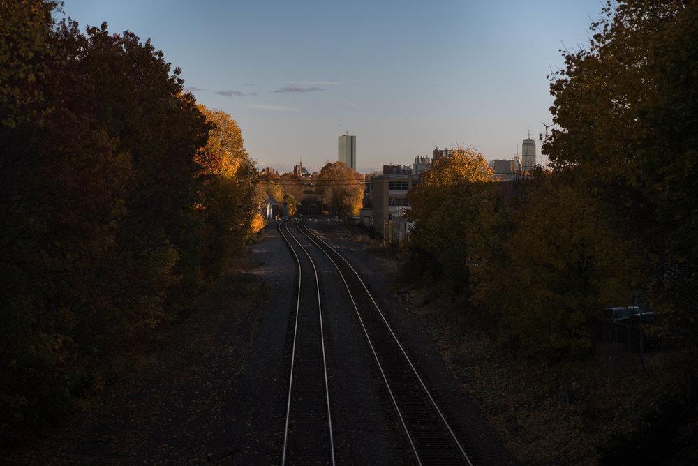 11/11/16 – Somerville/Medford, MA – The commuter train on Friday, Nov. 11, 2016. (Photo by Nicholas Pfosi)