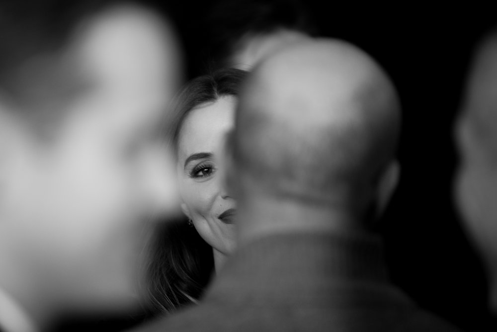 12/14/16 – Boston, MA – Actress and model Eliza Dushku talks with colleagues during the Patriots Day Film Premiere red carpet event at the Wang Theater in Boston, Mass., on Wednesday, Dec. 14, 2016. (Photo by Nicholas Pfosi)