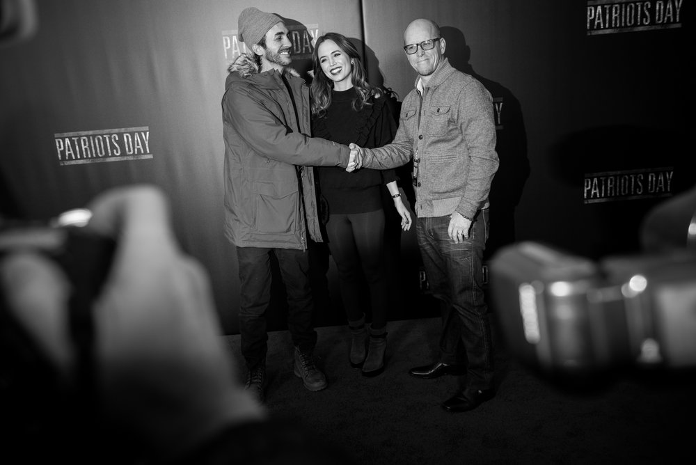 12/14/16 – Boston, MA – Eliza Dushku and her brother pose for a picture for press during the Patriots Day Film Premiere red carpet event at the Wang Theater in Boston, Mass., on Wednesday, Dec. 14, 2016. (Photo by Nicholas Pfosi)