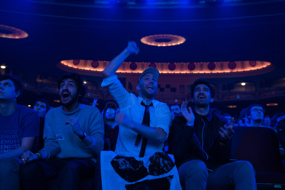 12/9/16 – Boston, MA – Paps, center, who declined to give his last name, Josh Devin, left, and Jacob Young, react during the DOTA 2 Boston Major competition in the Wang Theater in Boston, Mass., on Friday, Dec. 9, 2016. (Photo by Nicholas Pfosi)