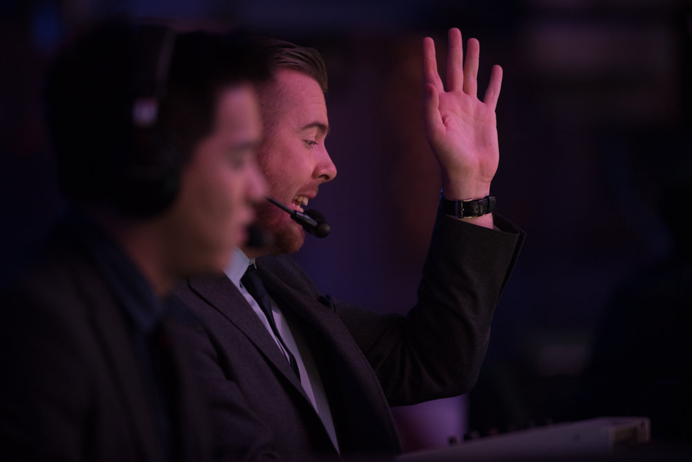 12/9/16 – Boston, MA – A caster during the DOTA 2 Boston Major competition in the Wang Theater in Boston, Mass., on Friday, Dec. 9, 2016. (Photo by Nicholas Pfosi)