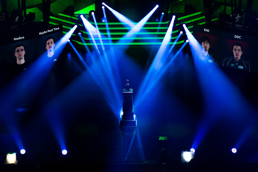 12/9/16 – Boston, MA – The trophy during the DOTA 2 Boston Major competition in the Wang Theater in Boston, Mass., on Friday, Dec. 9, 2016. (Photo by Nicholas Pfosi)