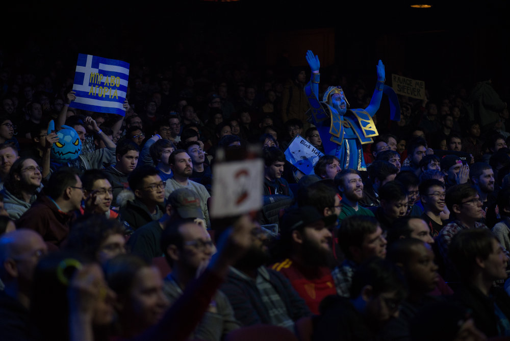 """12/9/16 – Boston, MA – Chris """"Earth"""" Earls of Long Island, celebrates among spectators during the DOTA 2 Boston Major competition in the Wang Theater in Boston, Mass., on Friday, Dec. 9, 2016. (Photo by Nicholas Pfosi)"""