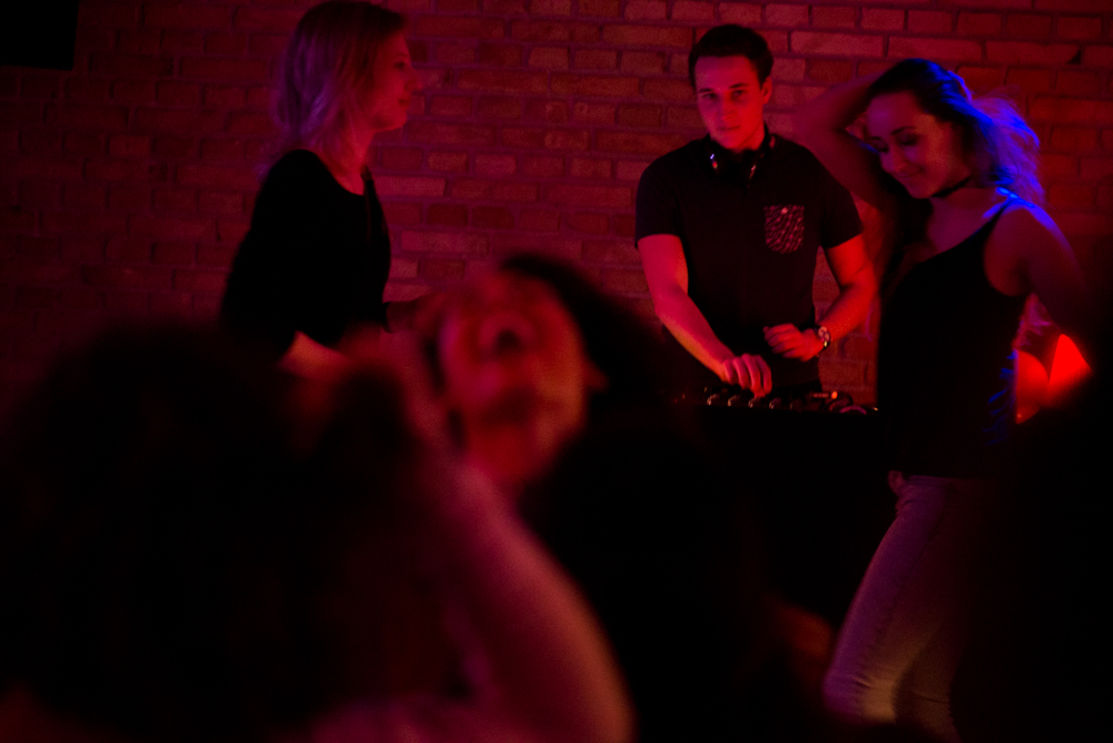 2/14/17 – Aarhus, Nordjylland – Andor Füzi, a student studying marketing in Aarhus, DJ's during International Night at the Aarhus Studenterhus on Tuesday, Feb. 14, 2017. Füzi is pursuing an associates degree, followed by a bachelors here in Denmark, and DJ's for fun when he's not working as a dishwasher downtown. (Photo by Nicholas Pfosi)