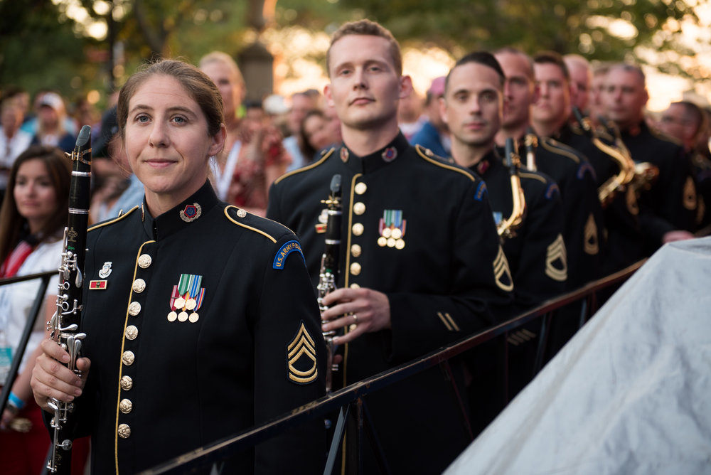 Boston, MA - 7/4/17 - Members of the U.S. Army Field Band prepare to enter the stage area during the Fourth of July Pops celebration on the Esplanade on Tuesday, July 4, 2017. (Nicholas Pfosi for The Boston Globe) Topic: 05IndepenceDaypic